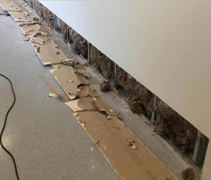 A flood cut along the wall in this home after a flood